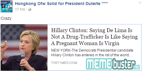 Hillary Clinton on De Lima