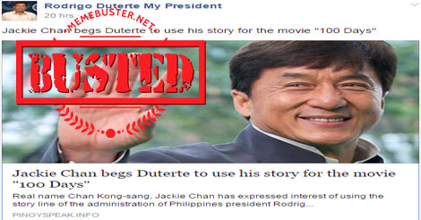 Jackie Chan Movie Based Duterte