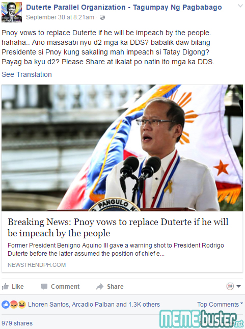 PNoy Vows to Replace Duterte