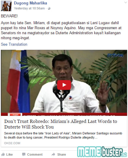 Santiagos Last Words to Duterte