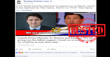 Trudeau Gives Fullest Support Duterte