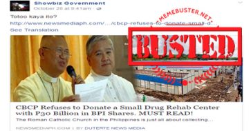 Busted: CBCP refuses to donate drug rehab center? DSWD did not even ask them for a donation!