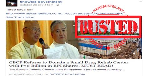 CBCP Refuses Donate Drug Rehab Center