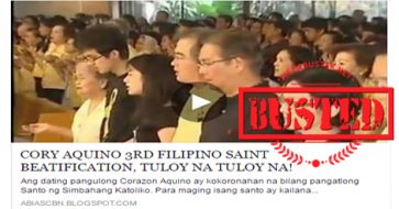 Busted: Story about Cory Aquino's beatification is a HOAX!