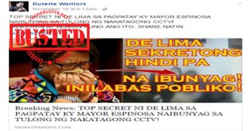 Busted: De Lima's top secret in Espinosa's death revealed through CCTV? Article is completely misleading!