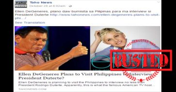 Busted: Ellen DeGeneres to visit PH and interview Duterte? It's another hoax!