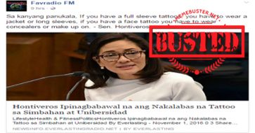 Busted: Did Hontiveros pass bill prohibiting exposure of tattoos? This is a HOAX!