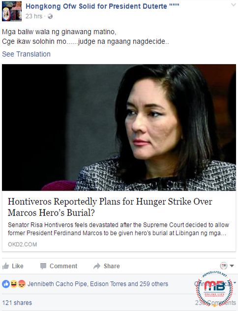Hontiveros on Hunger Strike