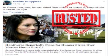 Busted: Hontiveros to go on hunger strike over hero's burial for Marcos? Hoax alert!
