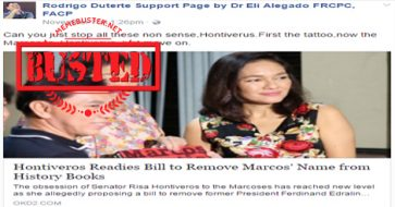Busted: Hontiveros IS NOT trying to remove Marcos' name from history books, wants Marcos retelling instead