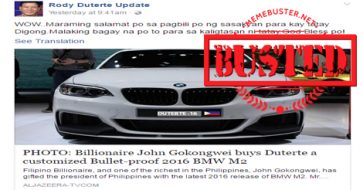 Busted: Story about John Gokongwei buying Duterte a bulletproof car is a hoax!