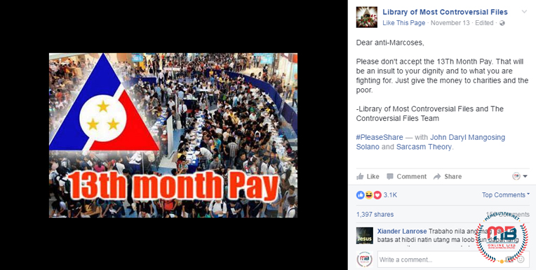 Labor Leader Authored 13th Month Pay