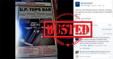 Busted: Marcos' highest bar exam scorer? Not true, his score was recalibrated due to cheating allegations