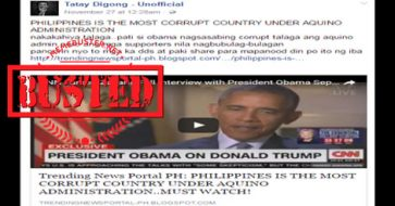 Busted: Did Obama say PH was most corrupt under Aquino admin? No, he didn't!