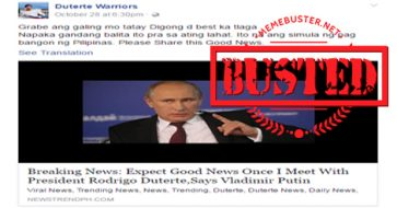 Busted: Putin's remark about promising good news when he meets Duterte is FAKE!