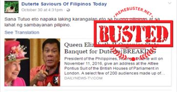 Busted: Did Queen Elizabeth II organize state banquet for Duterte? It's a hoax!