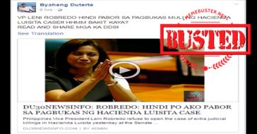 Busted: Did Robredo refuse to open Hacienda Luisita case? This is a fake story!