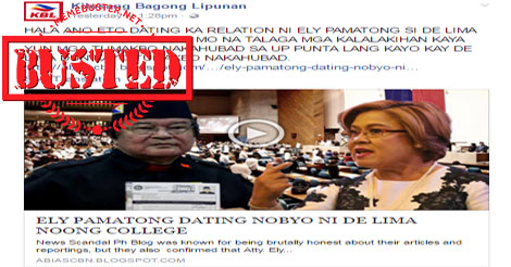 Same site is trying to link De Lima to Ely Pamatong by circulating rumors that they used to date during college at De La Salle University.