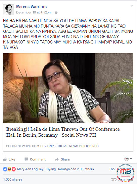 De Lima Thrown Berlin conference