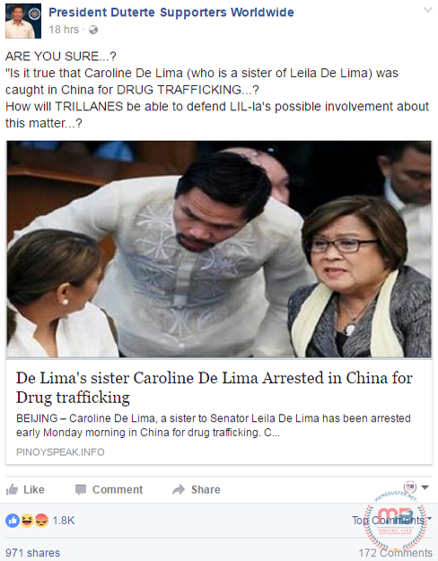 De Limas Sister Arrested in China