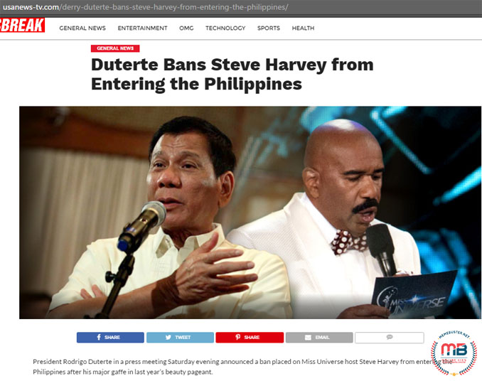 Duterte Ban Steve Harvey