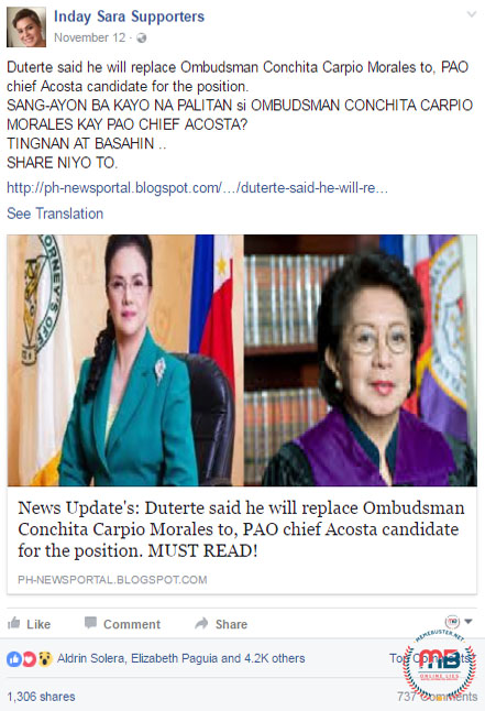 Duterte Replace Ombudsman Morales with Acosta