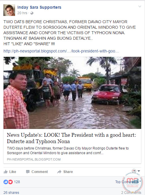 Duterte in Flooded Street After Typhoon