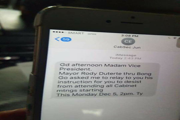 Evasco Confirms Text to Robredo
