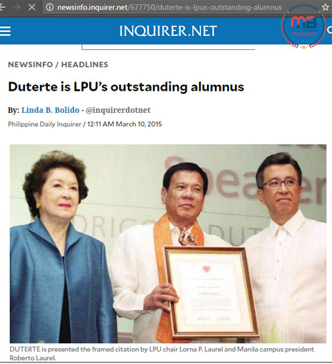 International Human Rights Award Duterte