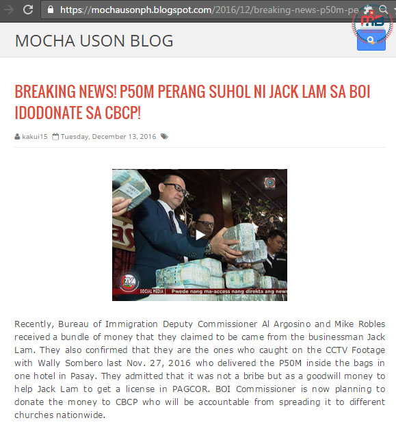 Jack Lam Donated to CBCP
