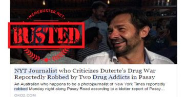 Busted: NY Times journo who criticized war on drugs robbed by addicts in Pasay? It's FAKE!