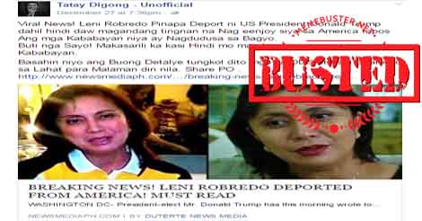 Robredo Deported from The US