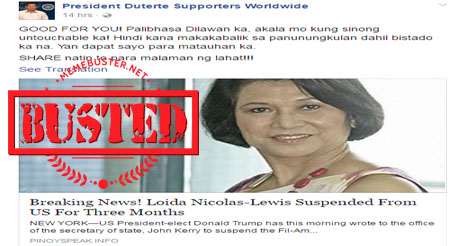 Busted: De Lima's sister sentenced to death in China? This is a HOAX!
