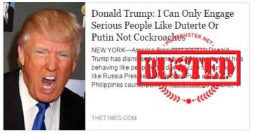 Busted: Trump said he only engages serious people like Duterte? Fake news site made this up