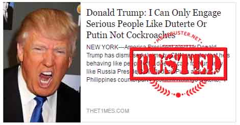 Trump Only Engages Serious People Duterte
