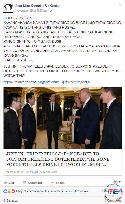 Trump PM Abe Support Duterte