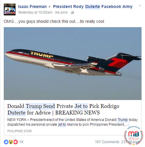 Trump Private Jet Fetch Duterte
