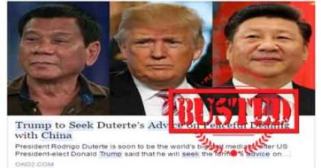 Busted: Trump seeks Duterte's advice to peacefully deal with China? It's a made-up story!