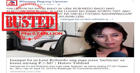 VP Robredo Buying P700K Bed