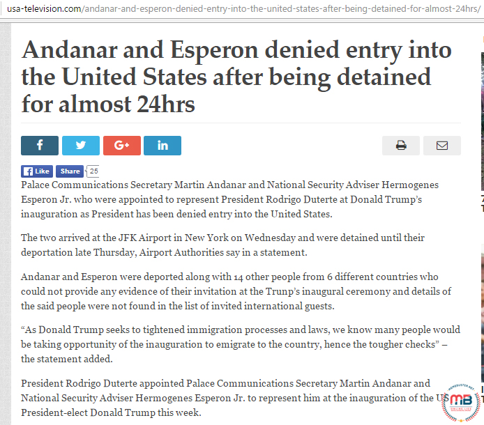 Andanar Esperon Denied US Entry