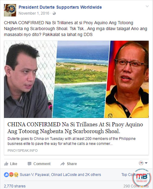 Aquino Trillanes sold Scarborough Shoal