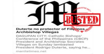Busted: Archbishop Soc Villegas slams fake news about his New Year homily from Manila Times