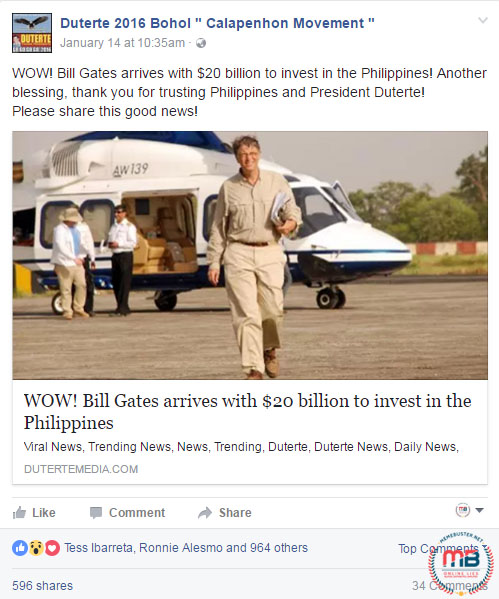 Bill Gates Investment Under Duterte