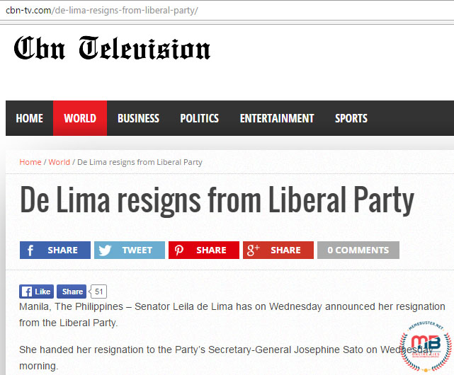 De Lima Resigned from LP