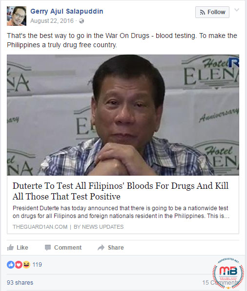 Duterte Filipinos Tested for Drugs