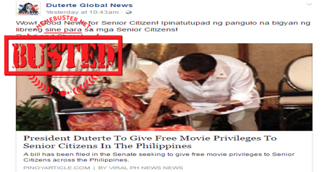 Duterte Senior Citizens Free Movie Privileges