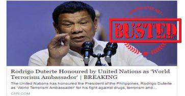 "Busted: Duterte honored by United Nations as ""World Anti-Terrorism Ambassador""? Hoax alert!"