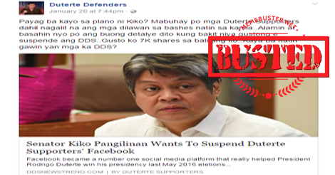 Pangilinan to Suspend Duterte Supporters