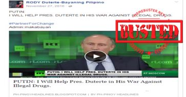 Busted: Putin said he will help Duterte's war on drugs? It's a misleading title for a 2013 interview
