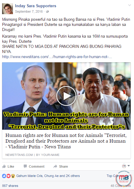 Putin Human Rights Are for Humans